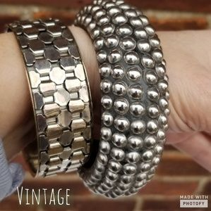 Silver Vintage bangle duo